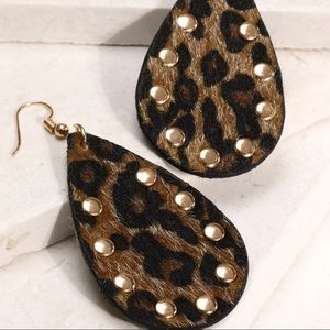 Brown Leopard Print Faux Fur Studded Earrings